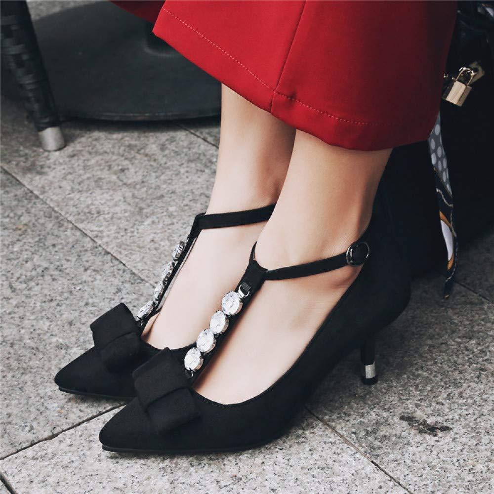 QINGMM Frauen Perle Spitze Spitze Spitze High Heels Pumps Mode Hohlen Wildleder Sandalen Persönlichkeit Party Schuhe 38f9a9