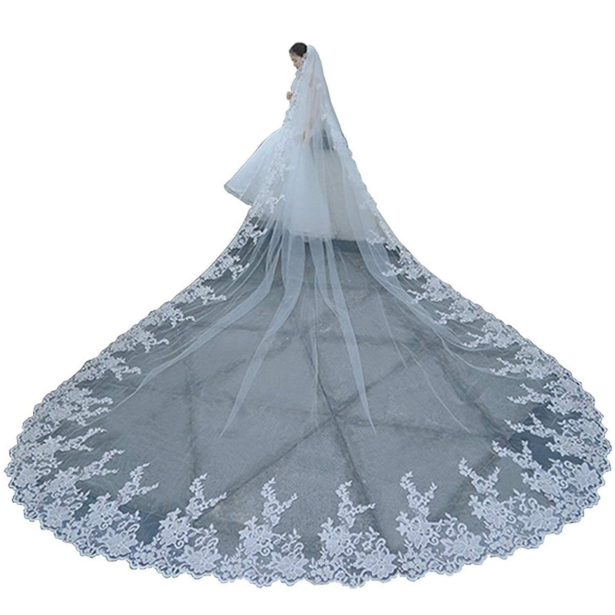 Faithclover Wedding Veils Long Cathedral Full Floral Lace Egde 1 Tier with Comb