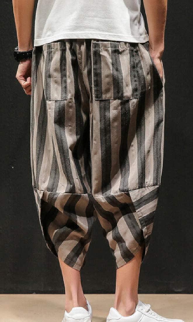 Men Stripe Capri Wide Leg Baggy Harem Pants