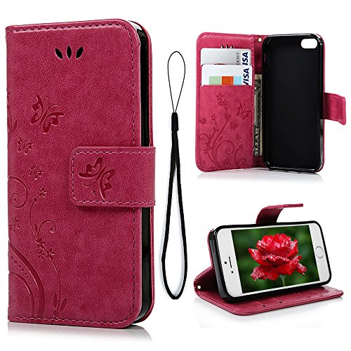 MOLLYCOOCLE iPhone SE 5S 5G Case Natural Luxury Hot Pink Stand Wallet Purse Credit Card ID Holders Magnetic Design Flip Folio TPU Soft Bumper PU Leather Ultra Slim Fit Cover for iPhone SE 5S 5