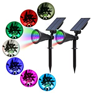 T-SUN Solar Spotlights, 7 LED Outdoor Color Changing Wall Light, 180° Adjustable Auto-on/Off Solar Lights for Patio, Yard, Garden, Driveway, Stairs, Pool Area(2 Pack)