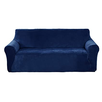 Deconovo Home Decorative Velvet Sofa Couch Slipcover Strapless Stylish  Stretch Couch Cover for 3 Cushion Sofa Navy Blue