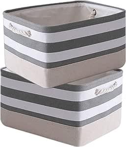 TheWarmHome Storage Baskets for Organizing [2-Pack]-15.7x11.8x8.3ines Dog Toy Basket Shelf Baskets for Storage Clothes Basket Decorative Storage Baskets for Home, Office, Nursery(Grey&White Stripes)