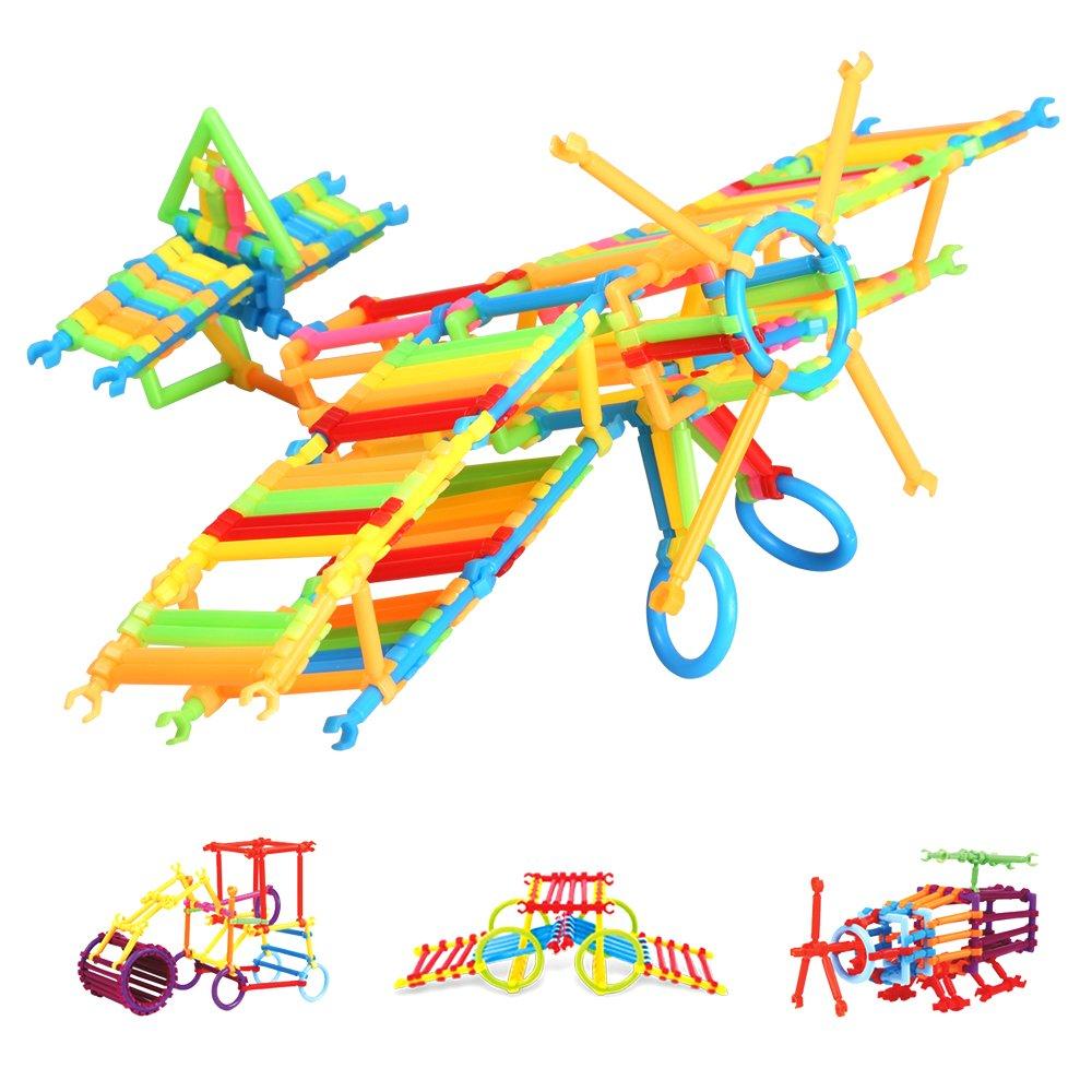 infinitoo Blocs de Construction 800pcs Bâtons de Blocs Construction Colorée | Jouet de Construction 3D Educatif et Créatif | DIY 3D Assemblage pour Enfants 3+ Pas de modes fixes et permettant votre bébé de jouer librement