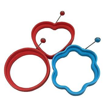 Antiadherente anillos de huevo moldes 3pcs silicona Pancake para hacer cocina huevos desayuno sano cocinas herramienta: Amazon.es: Hogar