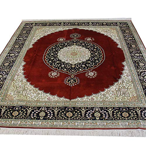 YILONG CARPET 8'x10′ Antique Persian Rug 8×10 Red Traditional Handmade Qum Silk Medallion Oriental Area Rug