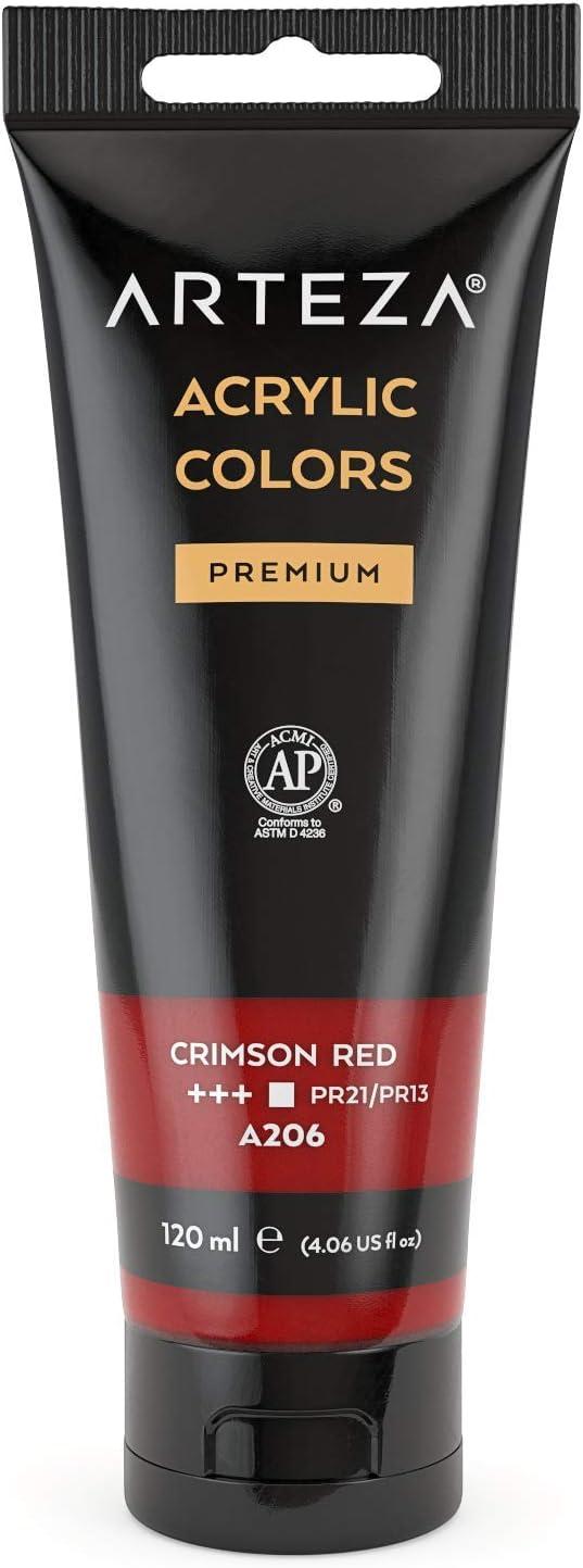 ARTEZA Acrylic Paint, Crimson Red Color, (120 ml Pouch, Tube), Rich Pigment, Non Fading, Non Toxic, Single Color Paint for Artists & Hobby Painters