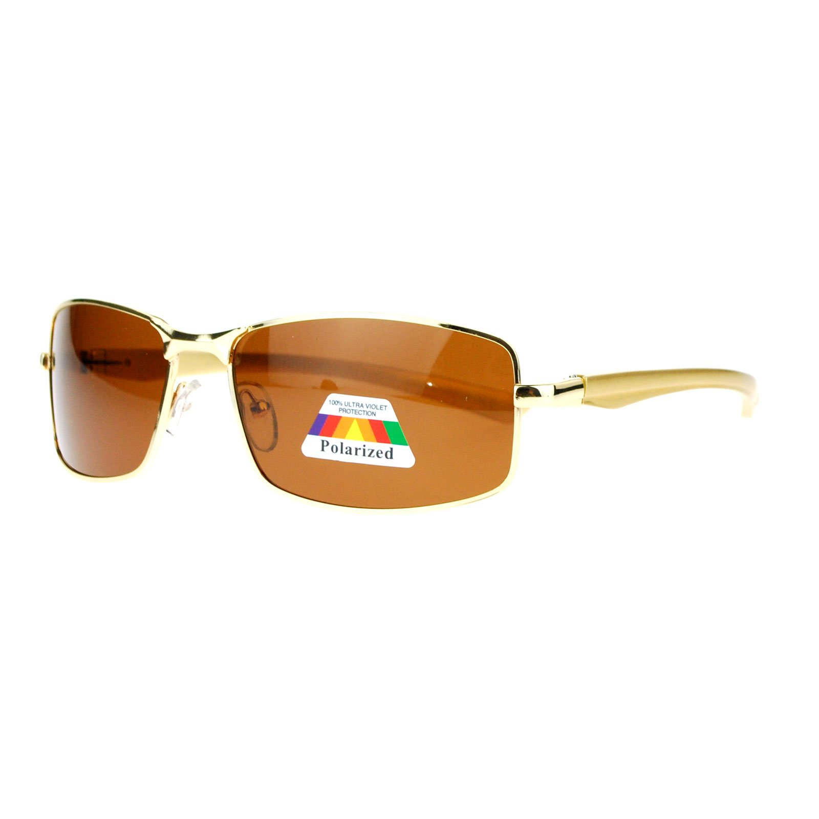 SA106 Mens Polarized Spring Hinge Luxury Designer Fashion Narrow Rectangular Sunglasses Gold by SA106
