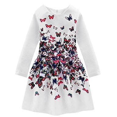7ea8f0b7426d1 Little Hand Robe Fille Enfant Papillon Robe de Soirée  Princesse Ceremonie   Casual Mignon