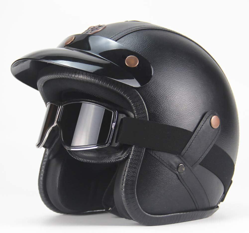 Yyou Leather Motorcycle Helmet 3//4 Retro Open Face Helmet Vintage Pilot Bike Motorcycle D.O.T Certified,with Glasses