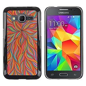 TopCaseStore / la caja del caucho duro de la cubierta de protección de la piel - Flower Orange Teal Floral Flames Spring - Samsung Galaxy Core Prime SM-G360