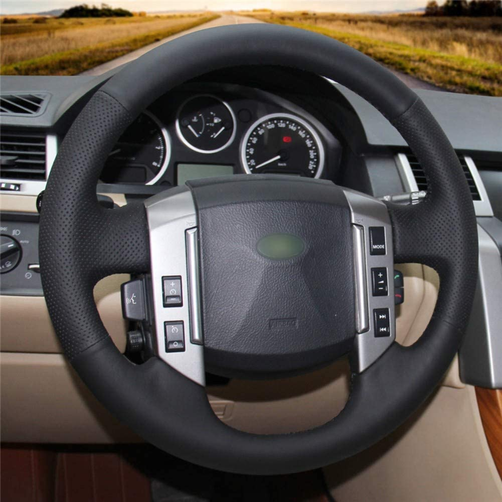 DANDELG Black Leather Car Steering Wheel Cover Car interior decoration for Land Rover Discovery 3 2004-200