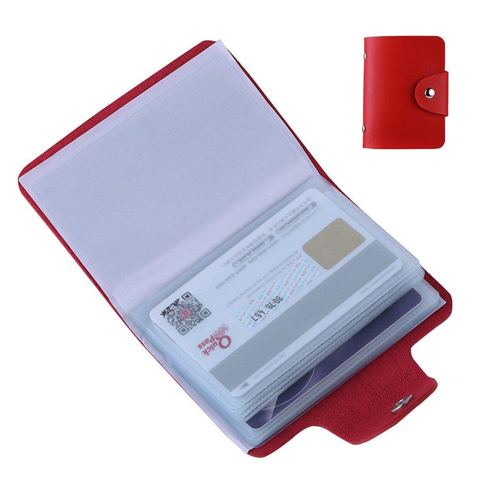 Porta Carte di Credito Pelle Porta Tessere Banconote Biglietti per Donna Uomo 12 Slot (Rosso)