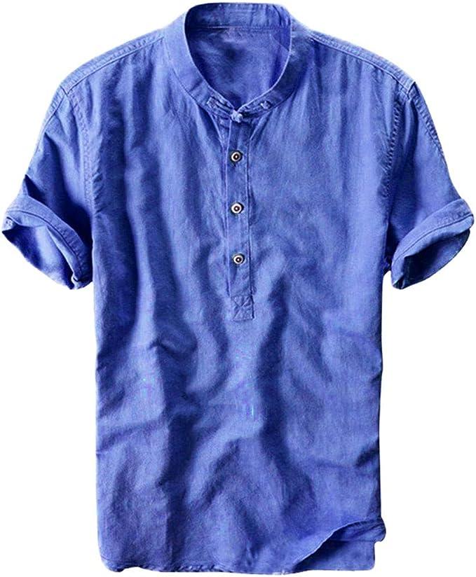 Sasstaids Camiseta Polo para Hombre Hombre, Verano AlgodóN Y Lino ...