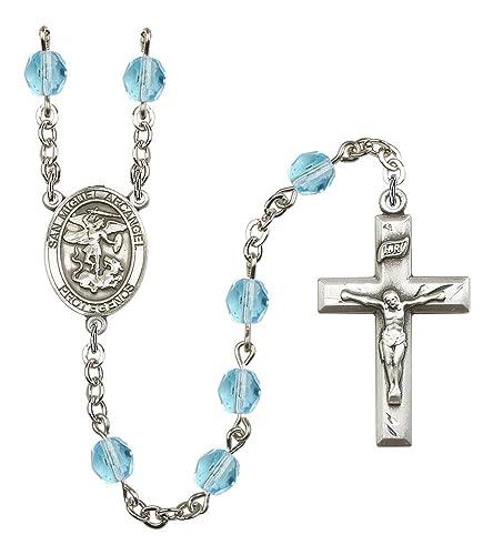Plata acabado rosario de San Miguel Arcangel con 6 mm Aqua Color fuego pulido cuentas,