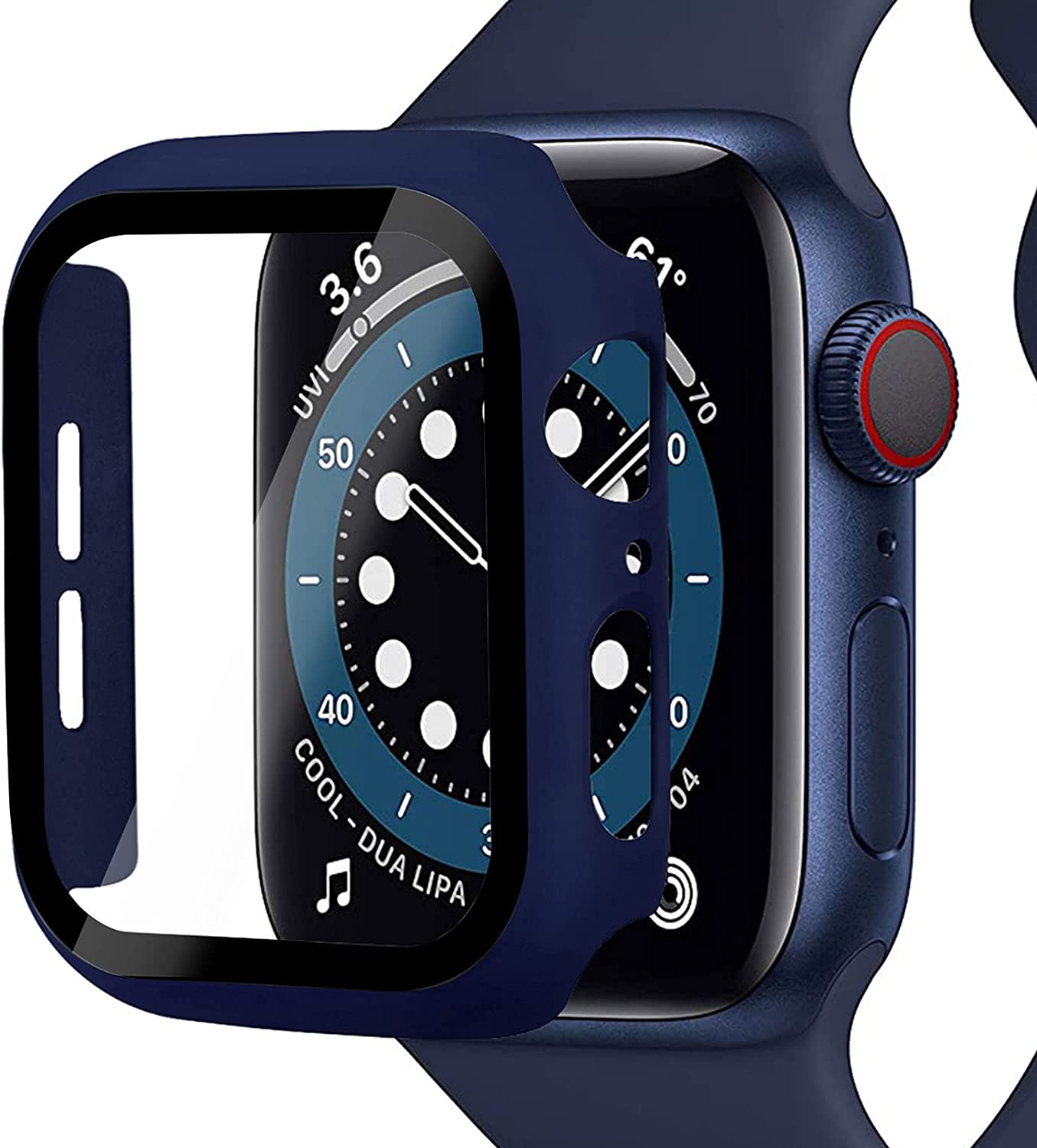 Miimall Compatible Apple Watch Series 6 44mm Case with Screen Protector Anti-Scratch Shockproof Hard PC and Tempered Glass Film Bumper Case for Apple Watch Series 6 Series 5 Series 4 SE 44mm(Blue)