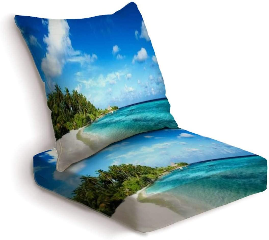 ONENPENRI 2-Piece Outdoor Deep Seat Cushion Set Tropical Beach Panorama Back Seat Lounge Chair Conversation Cushion for Patio Furniture Replacement Seating Cushion