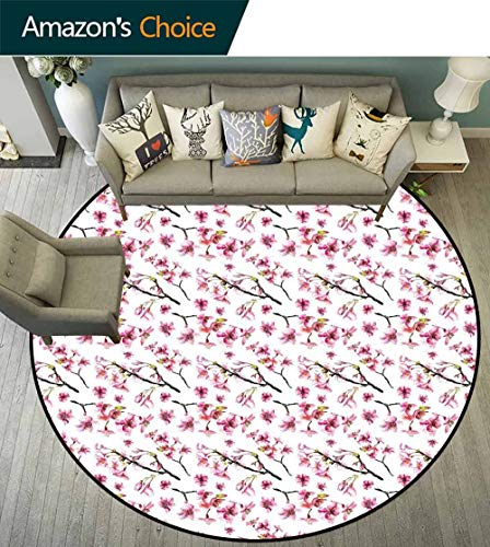 Cherry Blossom Round Rug Thin,Artistic Watercolor Style Oriental Pattern with Sakura Branch Waterproof and Easy Clean,Hot Pink Green Brown,D-67