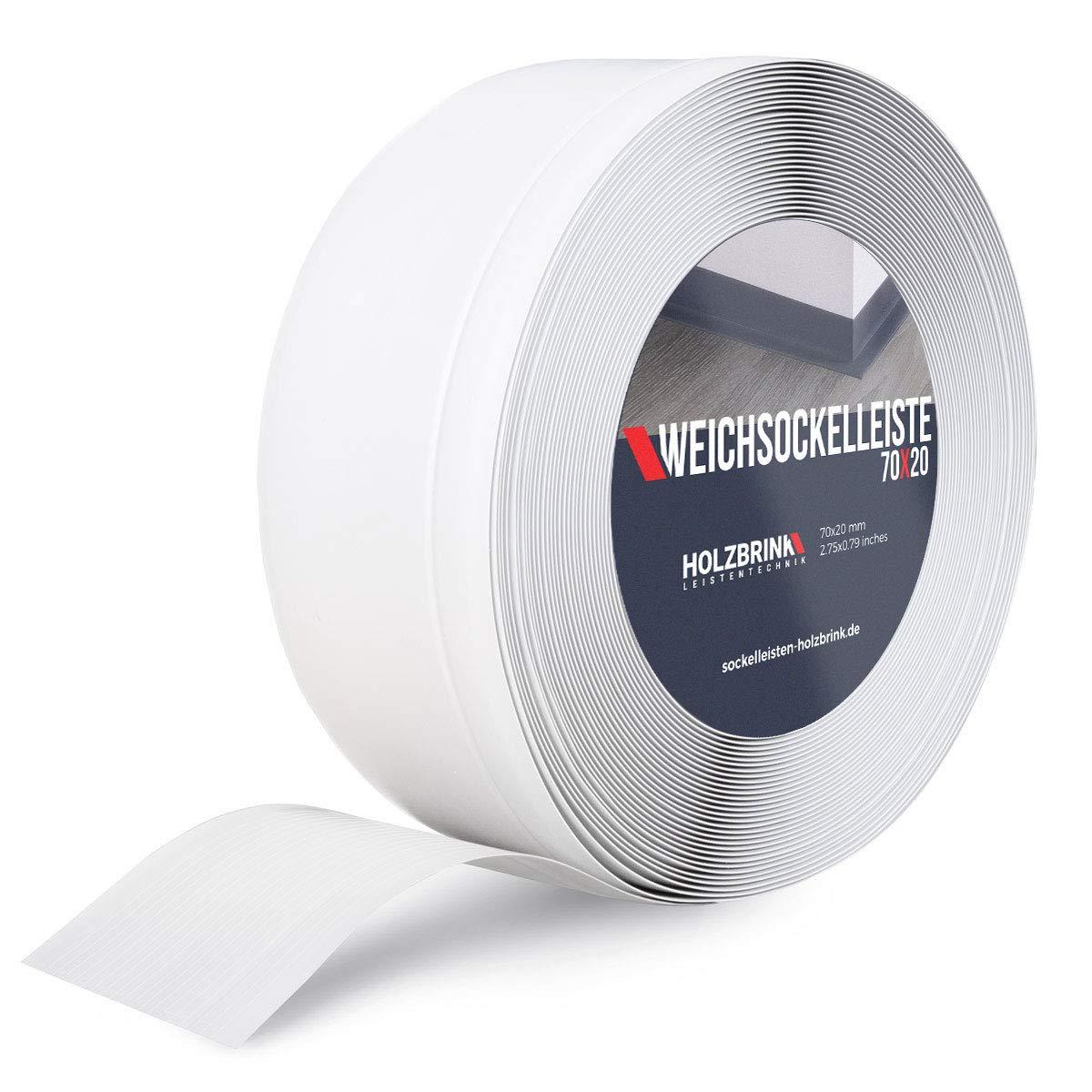 HOLZBRINK Perfil de Remate Suave Blanco Pre Cortado Perfil de PVC, 70x20 mm, 25 m