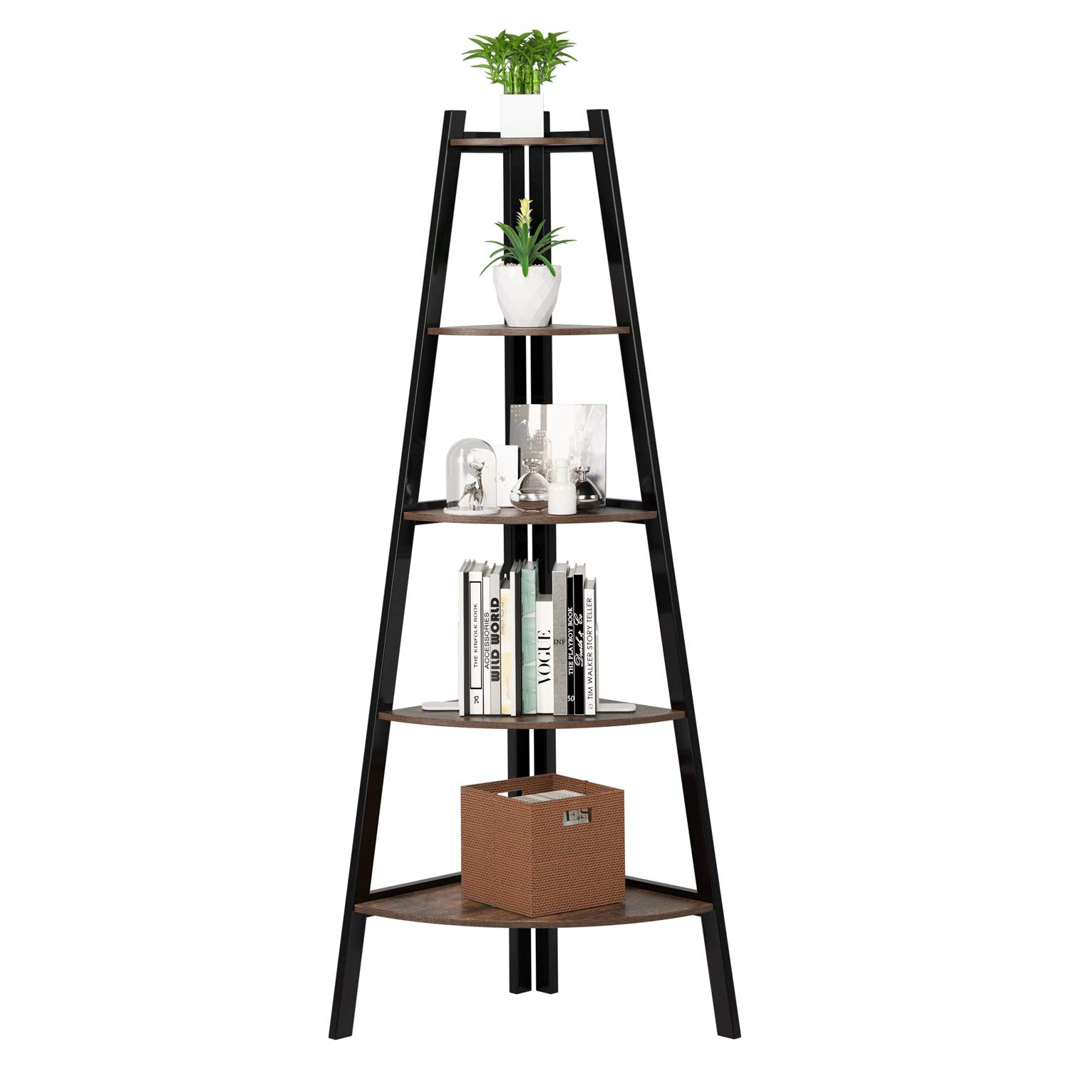 Homfa Industrial Corner Ladder Shelf, 5 Tier Bookcase A-Shaped Utility Display Organizer Plant Flower Stand Storage Rack, Wood Look Accent Metal Frame Furniture Home Office by Homfa