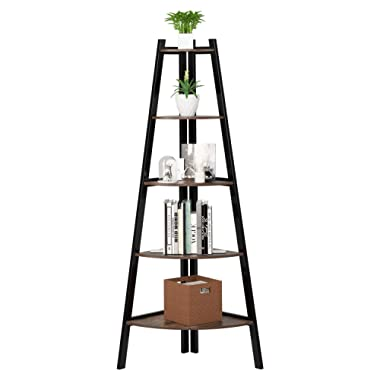 Homfa Industrial Corner Ladder Shelf, 5 Tier Utility Display Organizer Shelves Bookshelf Plant Flower Stand Storage Rack, Wood Look Accent Metal Frame Furniture Home Office