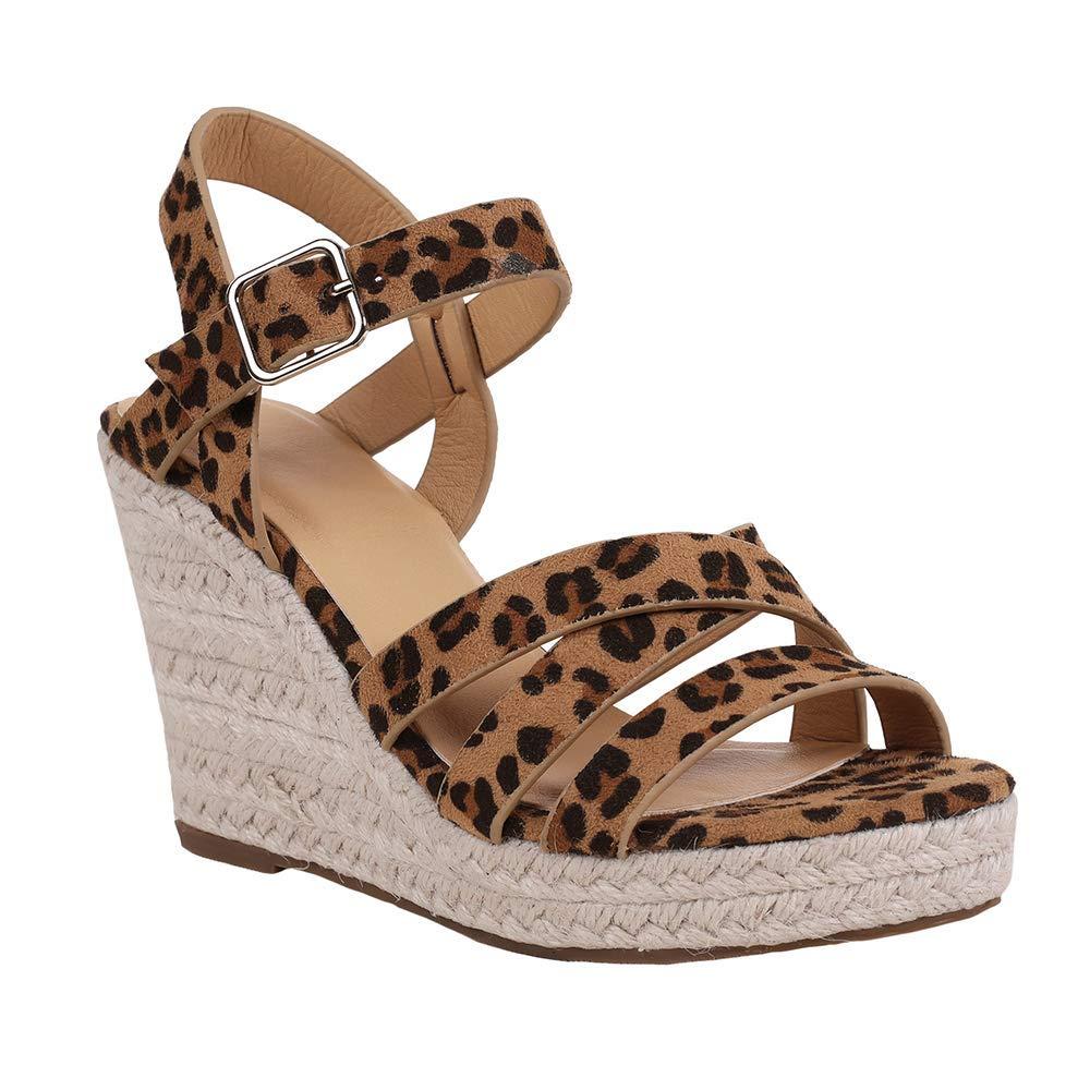 Leopard Print Coutgo Womens Wedge Espadrille Sandals Platform Open Toe Ankle Strap Summer Strappy Sandals