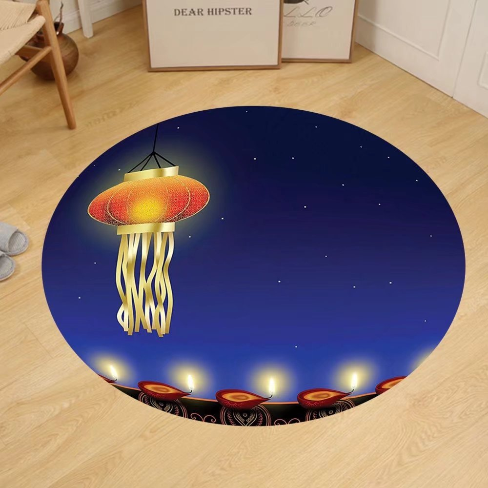Gzhihine Custom round floor mat Diwali Decor Religious Celebration of India with Lights Candles and Night Scenery Print Bedroom Living Room Dorm Multicolored by Gzhihine (Image #1)