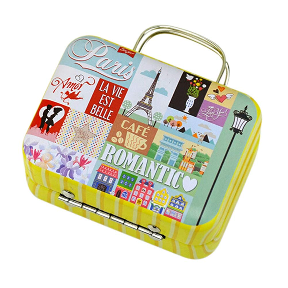 Vintage Patterned Metal Tinplate Empty Tins,Suitcase Style Container Mini Box for DIY Candles, Dry Storage, Spices, Coffee, Candy, Party Favors, and Gifts