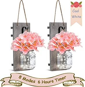 SunKite Mason Jar Sconce Rustic Home Wall Decor with 20 LED Bulbs Fairy String Lights - Handcrafted Hanging Mason Jar with Flowers (Set of 2) (Cool White)