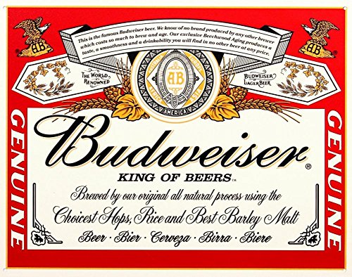 Budweiser Beer Label Tin Sign (Label Sign Tin Budweiser)