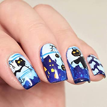 Amazon Com Whats Up Nails P040 Jack And The Ghouls Water Decals Sliders For Halloween Nail Art Design Beauty