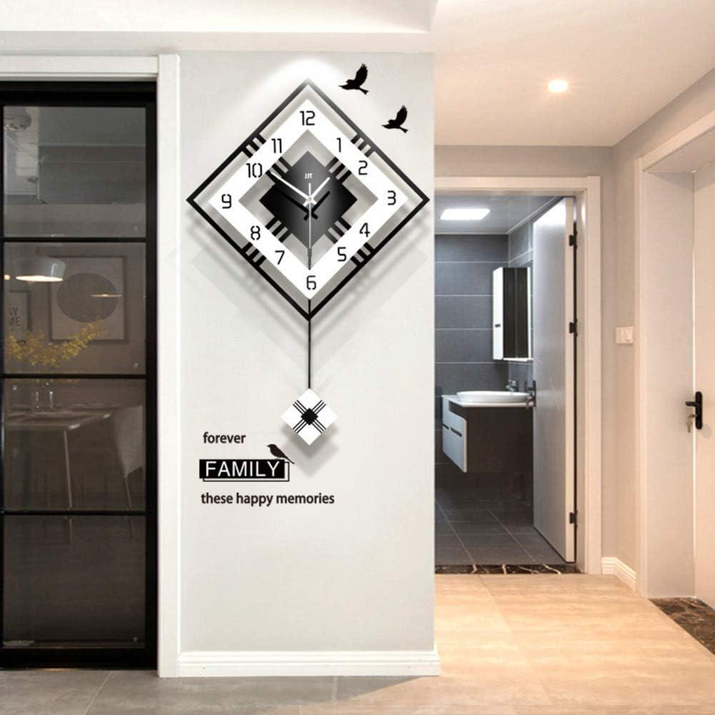 Moderno Decoración Reloj De Pared con El Péndulo, Grande Cuadrado Simple Péndulo Reloj,Madera Negro Blanco para El Salón Café Restaurante-Negro 52x81cm(20x32inch)