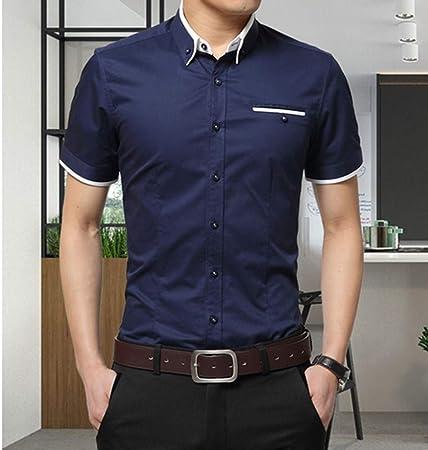 NSSY Camisa de Hombre Camisa de Negocios para Hombres de Verano Camisa de Manga Corta con Cuello caído Camisas de Vestir Formales para Hombres, XXXL: Amazon.es: Hogar