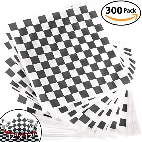 French Fry Plate - Avant Grub Deli Paper 300 Pack. Turn Your Backyard Cookout Party into a Race Day Event with Black And White Checkered Food Wrapping Papers. Grease-Resistant 12x12 Sandwich Wrap Prevents Food Stains