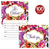 All Occasion Invites & Matching Thank You Cards Set ( 100 of Each ) with Envelopes Beautiful Purple Flowers Birthday Party Bridal Shower Fill-in Guest Invites & Folded Thank You Notes Best Value Pair
