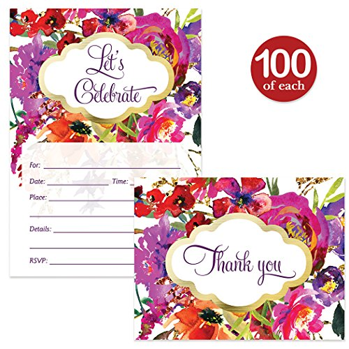 All Occasion Invites & Matching Thank You Cards Set ( 100 of Each ) with Envelopes Beautiful Purple Flowers Birthday Party Bridal Shower Fill-in Guest Invites & Folded Thank You Notes Best Value Pair by Digibuddha