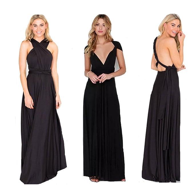 2d877a1a28f Manyis Women Evening Dress Convertible Multi Way Wrap Bridesmaid Formal  Long Dresses Black S