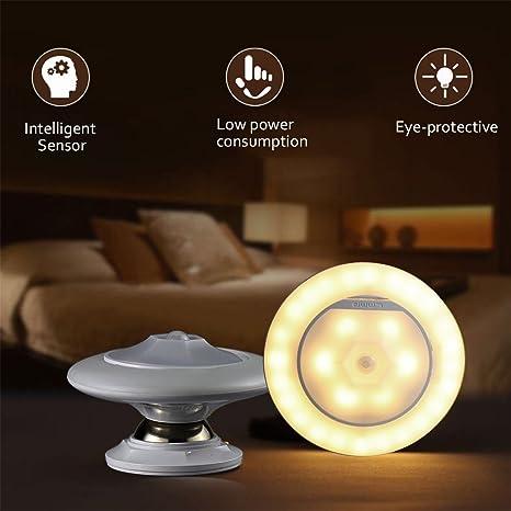 La noche del sensor de movimiento ligeras, detector cuerpo giratorio 360 ° punto de luz