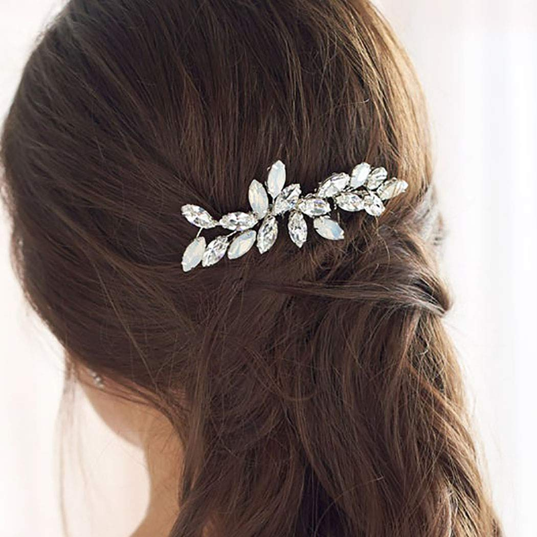 Natural gemstone comb REAY TO SHIP. Silver and gold wedding headpiece Magic garden comb Small metal flower bridal hair accessory