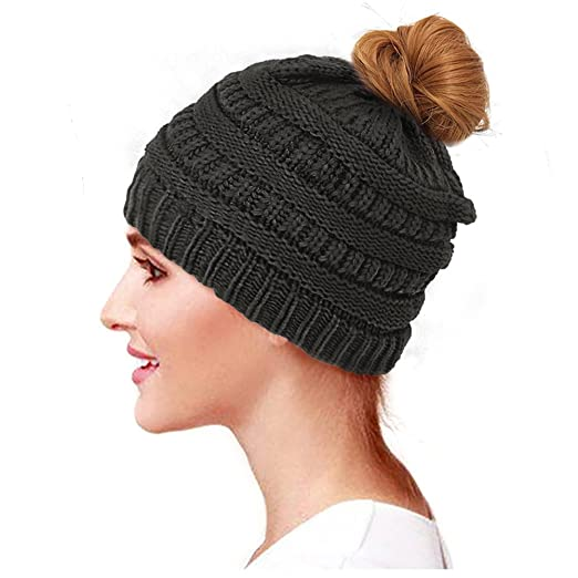 Image Unavailable. Image not available for. Color  Glamorstar Trendy Messy  Bun Beanie Ponytail Knit Hat Stretch Cable Chunky Bun Hat Black 713704b05580