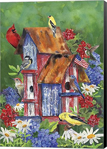 Patriotic Birdhouse by Cindy Fornataro Canvas Art Wall Picture