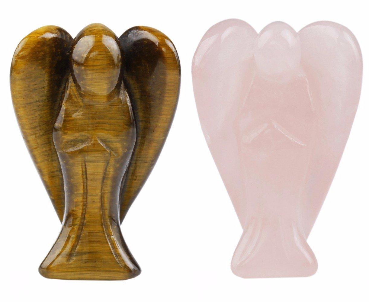 rockcloud Healing Crystal Gemstone Carved Pocket Guardian Angel Figurines 1.5 inch