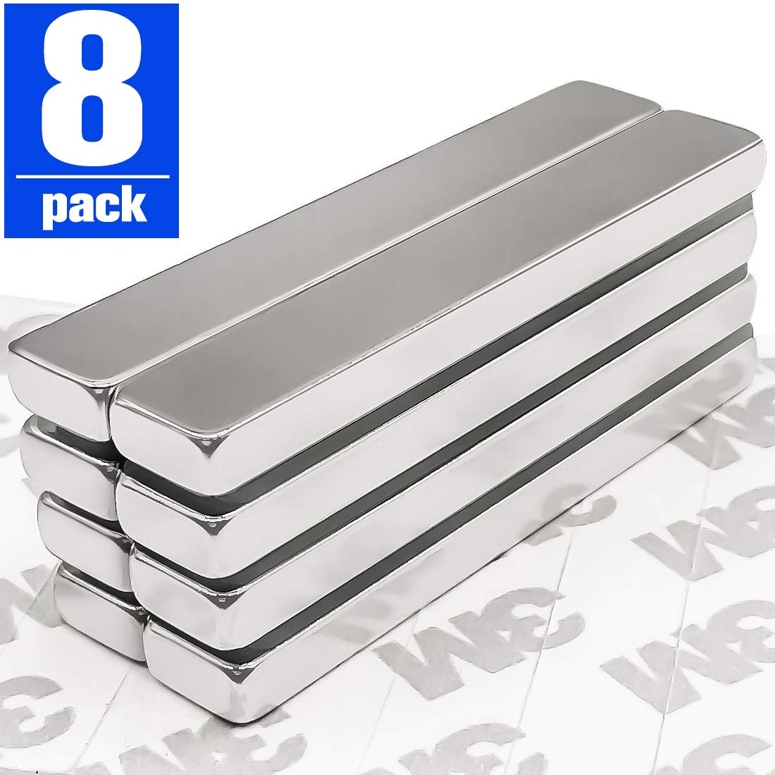 Upgraded Rare Earth Metal Neodymium Magnet 8 Pack Strong Neodymium Bar Magnets with Double-Sided Adhesive 60 x 10 x 5 mm