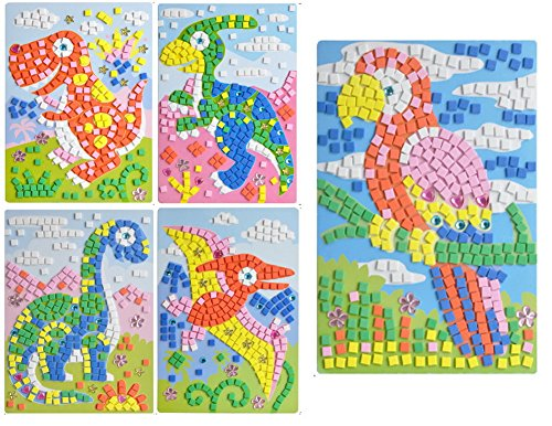 PANDA SUPERSTORE Dinosaur Crystal Sticky Mosaics for Kids Mosaic Kits, 5 Pics