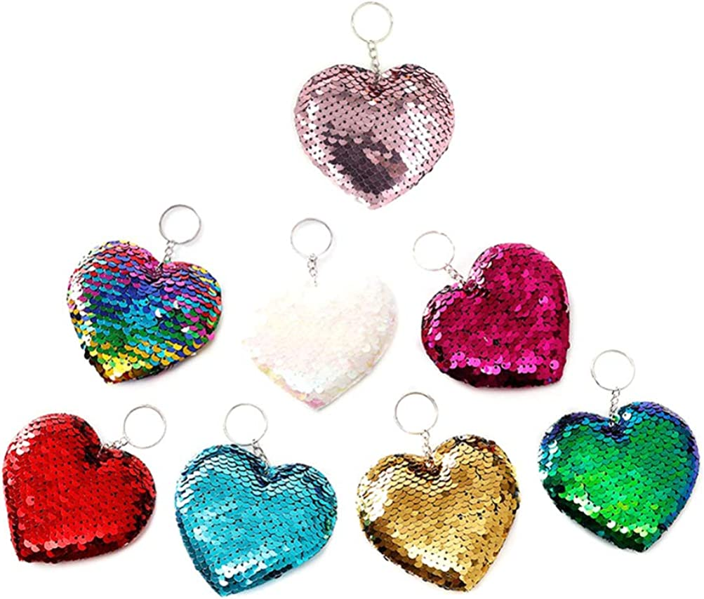 1PC Cute Sequins Cat Heart Pineapple Keychain Keyring Colorful Key Chain Ring
