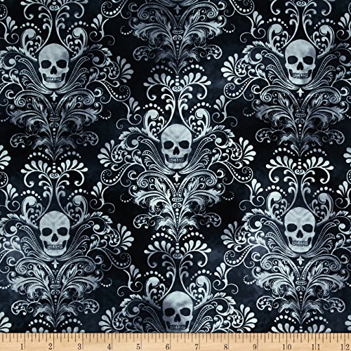 Timeless Treasures 0420528 Skulls Damask Charcoal Fabric by The Yard