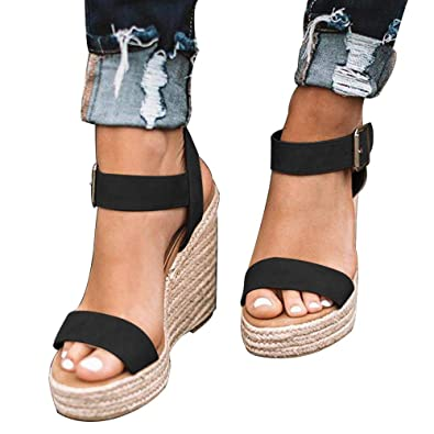 e0737211c9d DEARWEN Women s Espadrilles Wedge Sandals Open Toe Ankle Strap Platform  Heeled Cute Sandals