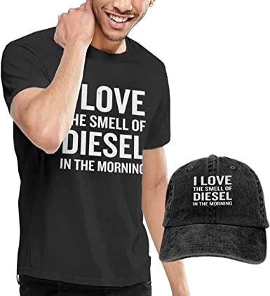 GTGTH I Love The Smell of Die-Sel Driver Gas Truck Camisa para Hombre Camisa de Manga Corta para Adulto + Sombrero de Vaquero: Amazon.es: Ropa y accesorios