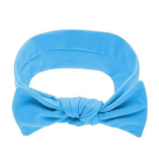 Cinhent Headband Toddler Girls Kid Baby Bow Stretch Turban Knot Cotton Head Wrap (Blue)