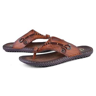 Mr.LQ Sandalen für Männer Soft Handgemachte Gummisohlen Sommer Fashion Daily Leder Strand Flip-Flops,Brown,41.5